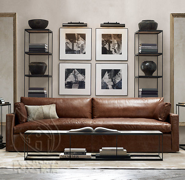 French American Country Retro Leather Sofas Imported Oil Wax Sofa Single Double Triad