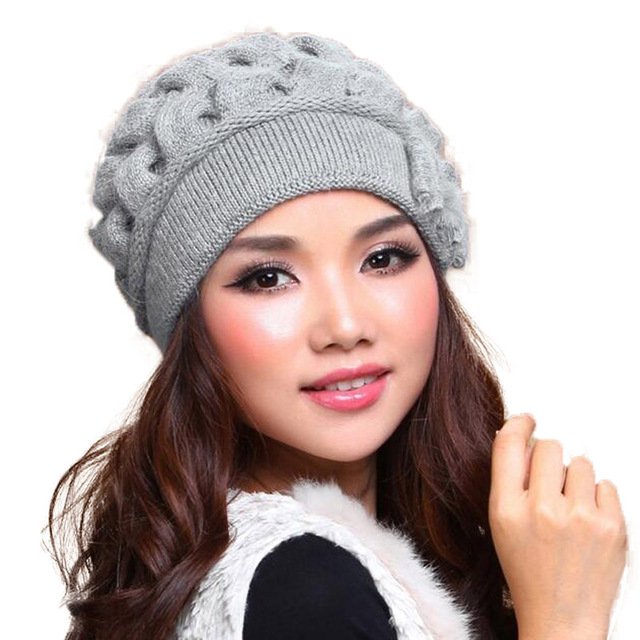576e3ff66c71ac FS Fashion Rabbit Wool Women Caps Thermal Warm Double Layer Knitted Winter  Hat Ear Protect Beanies Gorra Hats Invierno