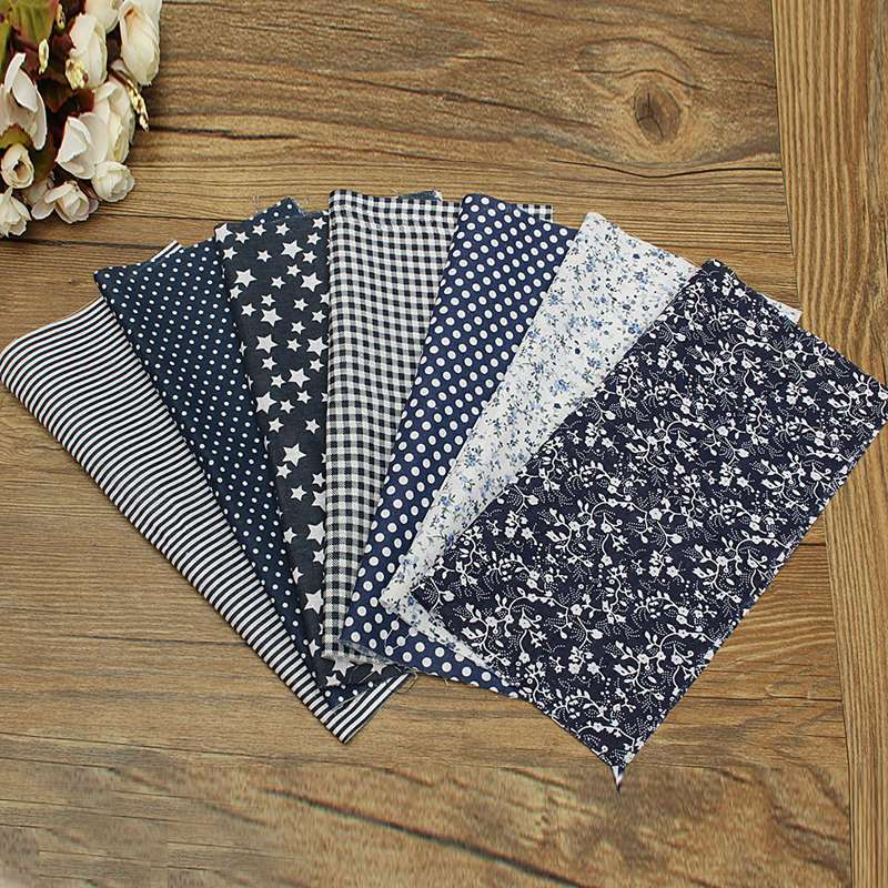 Hot sale 7pcs set dark blue dot stars thin quilt cotton for Cloth material for sewing