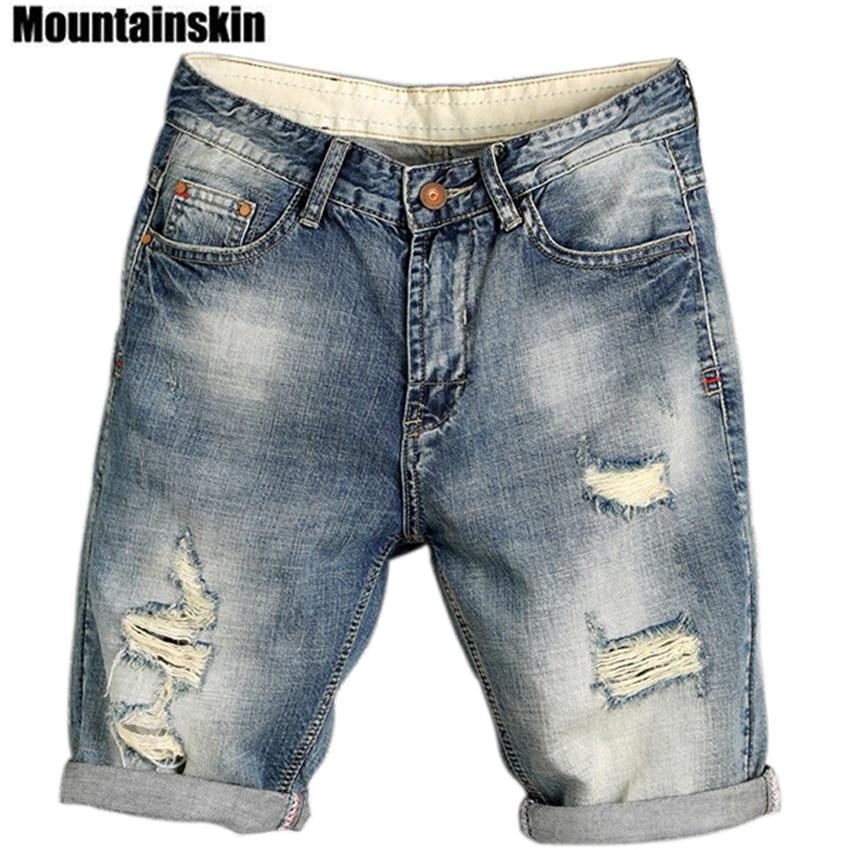 Mountainskin 2018 Summer Men's Jogger Ripped Denim Shorts Hole Pop Streetwear Male   Jeans   Thin Fashion Brand Male   Jeans   SA169
