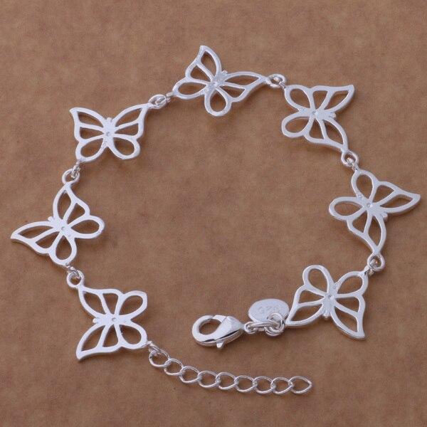 6d51b9423 € 1.73 15% de réduction|Bracelet papillon plaqué argent joli cadeau bijoux  romantique pour femme fille pas cher promotionnel dans Charme Bracelets ...
