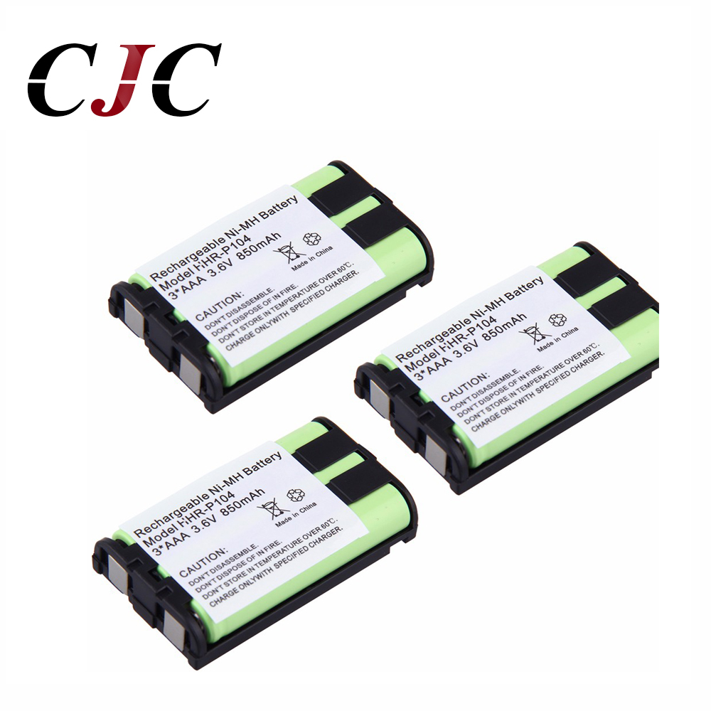 Replacement Batteries Power Source 3pcs 3.6v 850mah Ni-mh Replacement Battery For Panasonic Hhr-p104 Hhr-p104a/1b Rechargeable Cordless Home Phone Battery