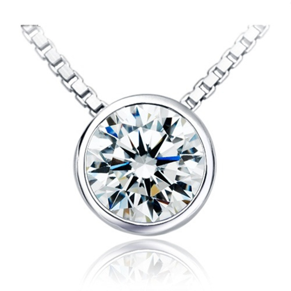 0 5 Carat Brilliant Round Cut Diamond Engagement Pendant Solitaire Necklace Genuine Sterling Silver Chain 16inch
