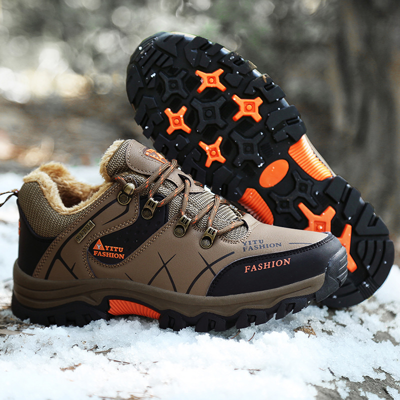 NIDENGBAO Men s Walking Shoes Winter Plush Warm Mans Footwear Outdoor Waterproof Sport Shoes Leather Shoes