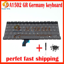 "5pcs/lot new original for macbook pro 13"" retina A1502 GR keyboard replacement Germany German clavier without backlight backlit"