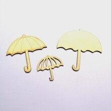 30 pcs Thuis Art Decoratie Paraplu Patroon Natuurlijke Hout Ambachten Maken Scrapbooking DIY Handgemaakte Houten Accessoires