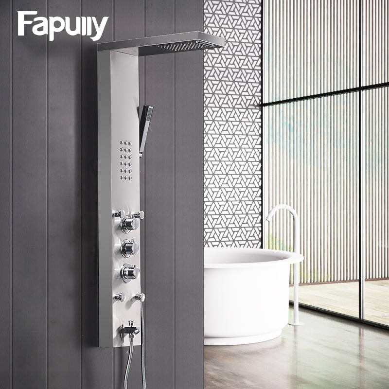 Useful Fapully Bathroom Thermostatic Rain Shower Panel Brushed Nickel Shower Column Tub Hand Shower Wall Panels With Massage Ly114-01n Pleasant To The Palate Shower Equipment