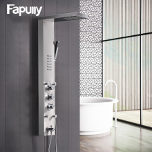 Fapully Bathroom Thermostatic Rain Shower Panel Brushed Nickel Shower Column Tub Jets Hand Shower Wall Panels With Massage Jet  цена 2017