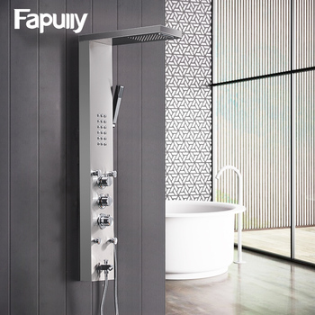 Fapully Bathroom Thermostatic Rain Shower Panel Brushed Nickel Shower Column Tub Hand Shower Wall Panels With Massage LY114-01N promotion black shower column tower single handle wall mount rain waterfall with massage jets shower system brass hand shower