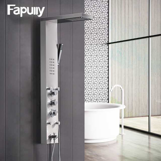 Fapully Bathroom Thermostatic Rain Shower Panel Brushed Nickel ...