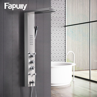 Fapully Bathroom Thermostatic Rain Shower Panel Brushed Nickel Shower Column Tub Hand Shower Wall Panels With Massage LY114 01N