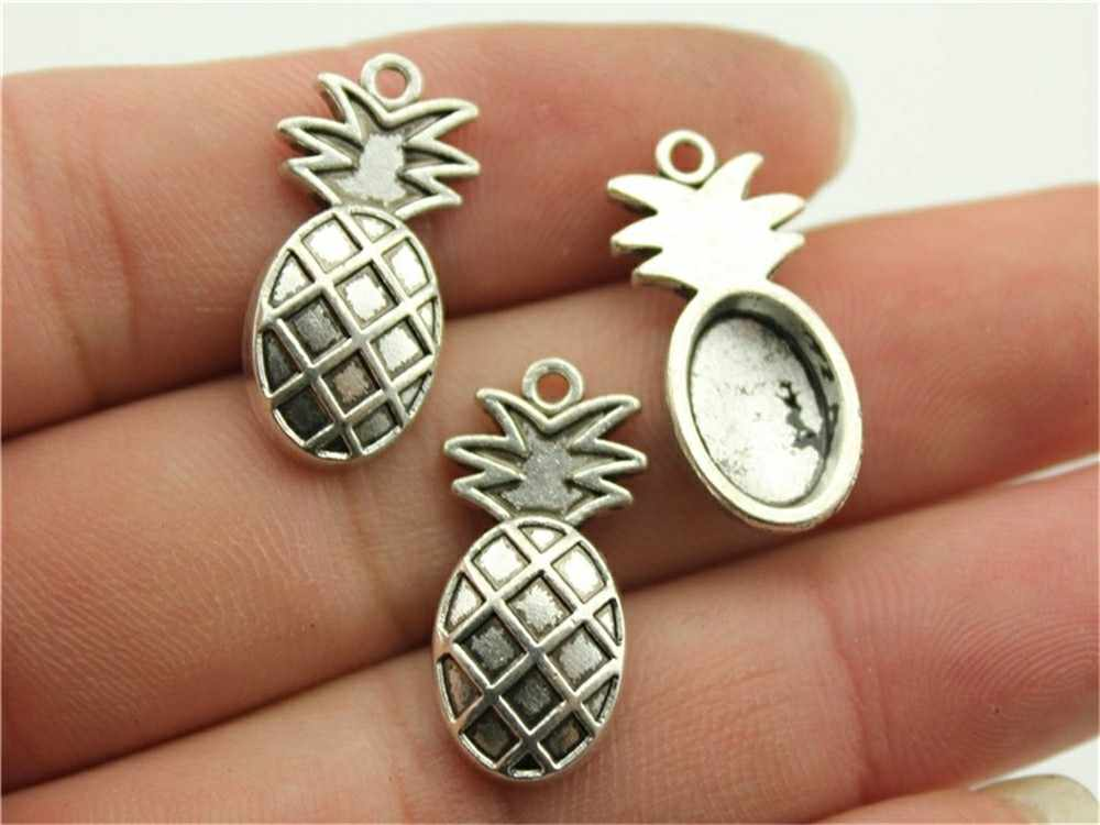 15pcs Fruit Charms Pineapple Apple Grape Pendants Jewelry Making Strawberry Charms Antique Silver