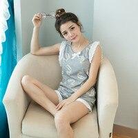Summer Women Knitted Cotton Pajamas Set White Swan Girl Leisure Sleeveless Shorts Out Ms Leisurewear Suit