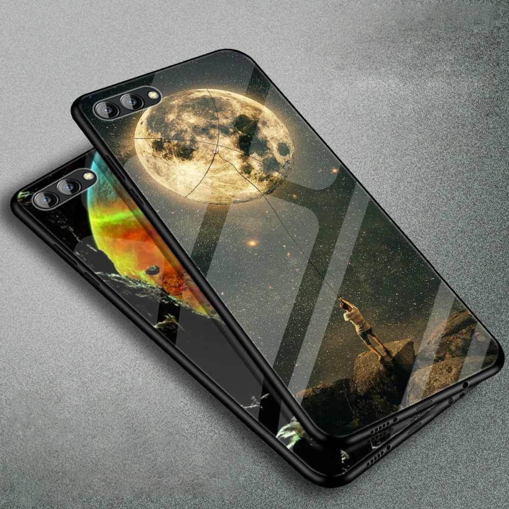 WeeYRN Starry sky Full Tempered Glass Case Huawei Honor View 10 Glossy Luxury Hard Case Patterned Back Cover Honor View 10 Funda