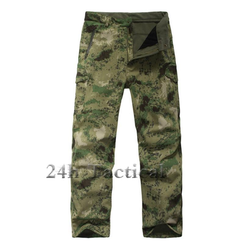 TAD Shark Skin Waterproof Windproof Outdoor Hiking Climbing CS Camouflage Hunting Pants Men Fleece Trousers Military Army Pant