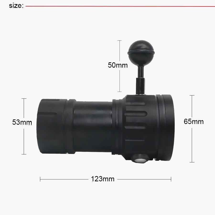 Nouvelle led Flashlight Plongée Sous-Marine 80 M XHP70/L2 Photographie caméra vidéo lampe de poche tactique Bleu + Blanc led Lanterna Torche - 5