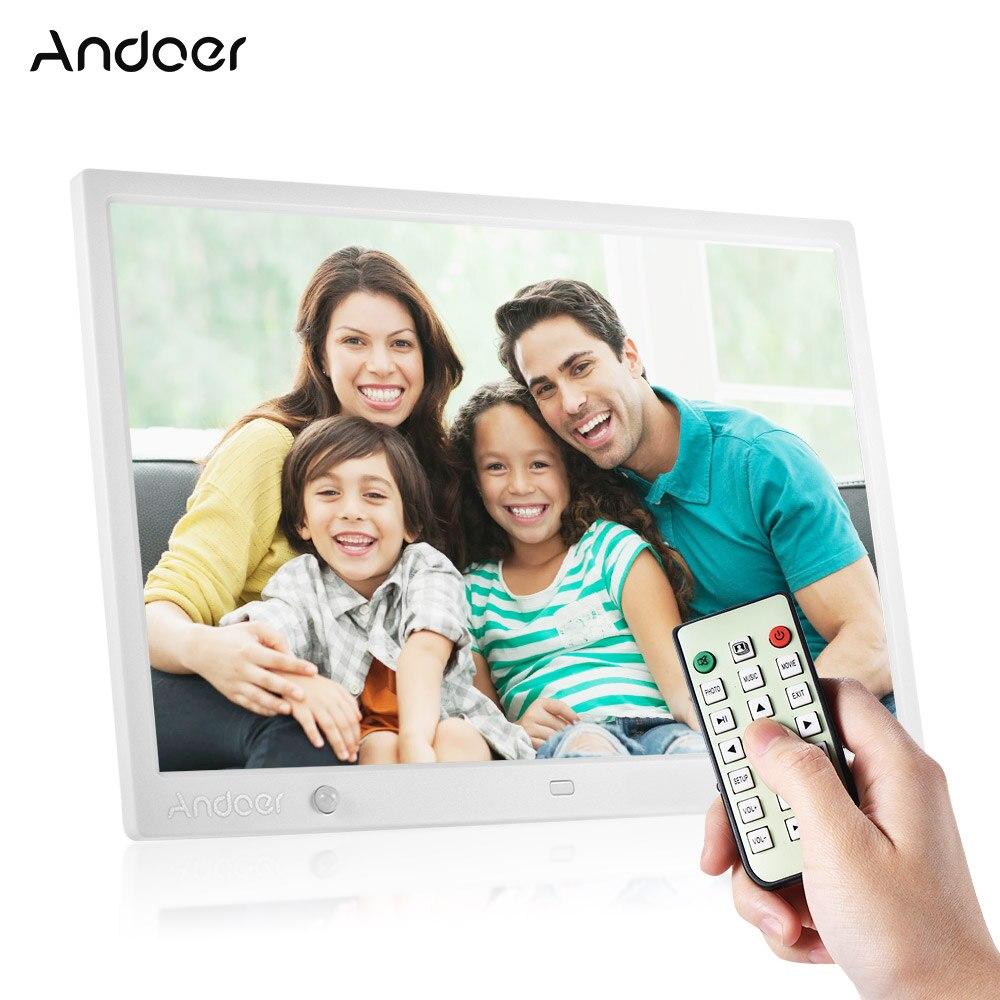 Andoer 15 Inch Large Screen LED Digital Photo Frame Desktop Album HD Calendar Functions with Motion
