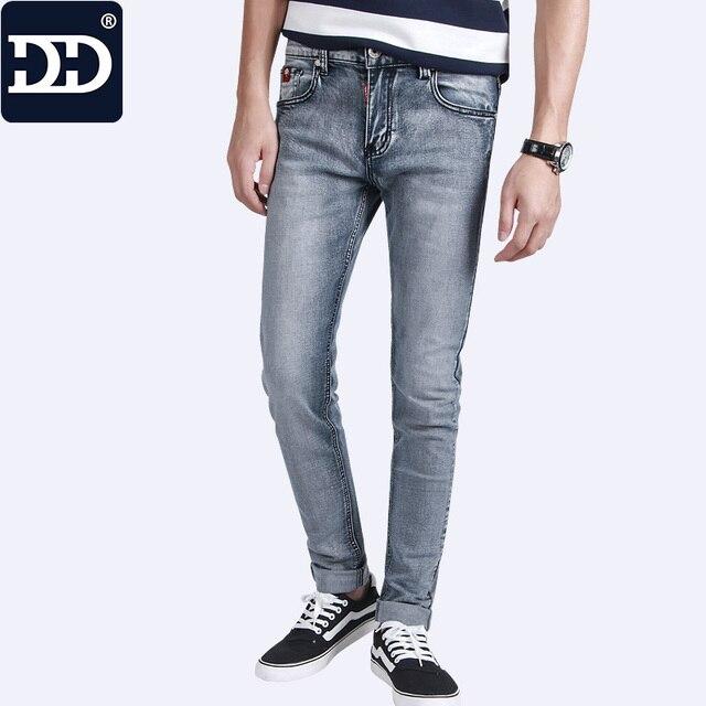 c6f4a7b7d05 Dingdi Jeans Hombres Pantalones Vaqueros Del Boutique Marca de Alta Stretch  Light Blue Jeans Hombres Delgados