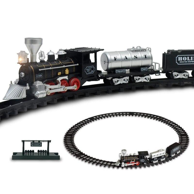 Électrique Racing rail de voiture enfants Piste train modèle jouet bébé Chemin De Fer train Course Route Transport Bâtiment Slot Ensembles Jouets enfants