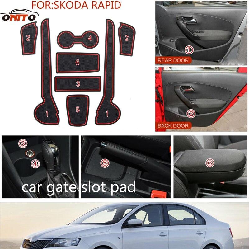 8pcs/set Car Gate Slot Pad Non-slip Cup Mat Anti Slip Door Groove Mat Interior Car Accessory For Skoda RAPID 2014-2016