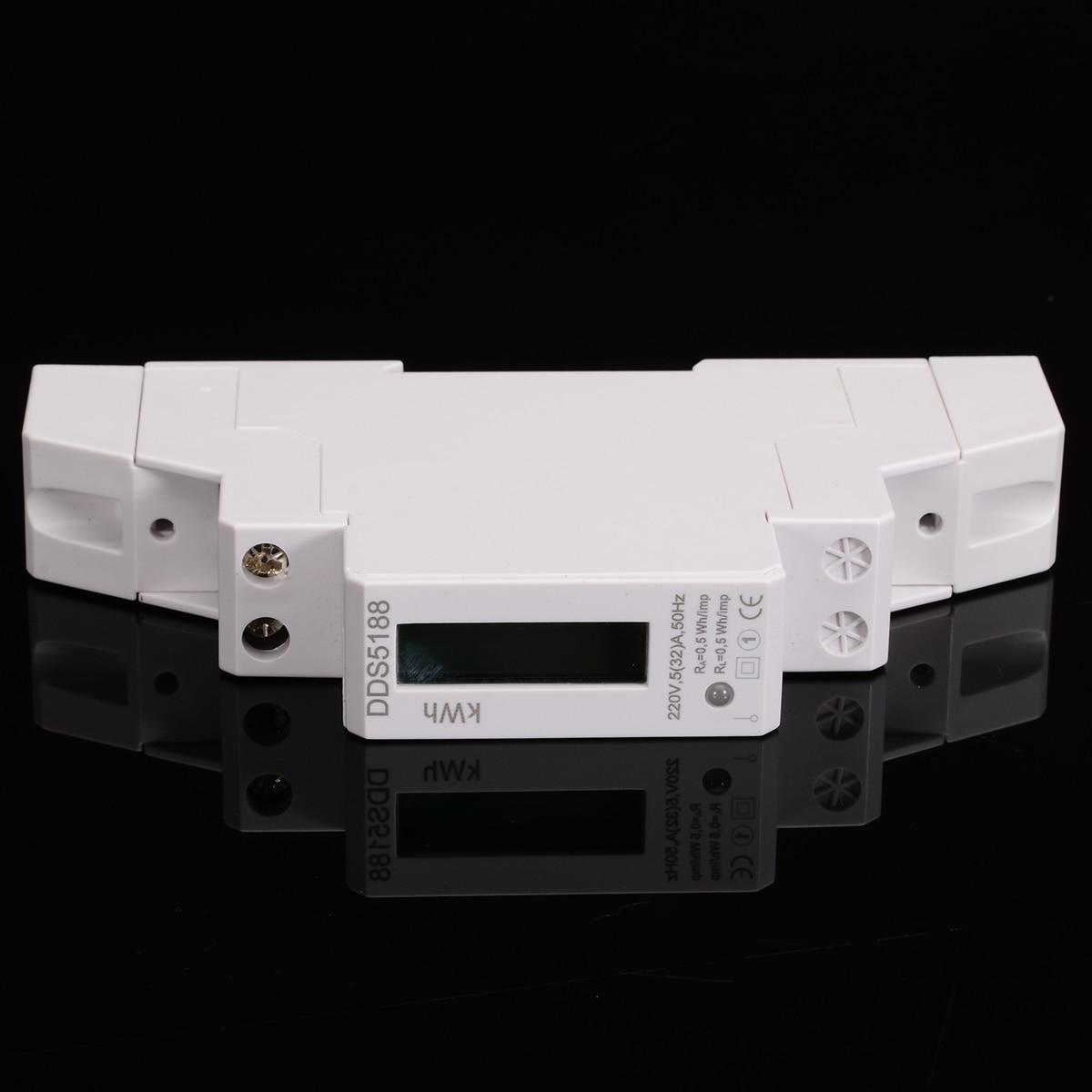 DDS5188 LCD 5(32)A 230V AC Single Phase Pole DIN-Rail Kilowatt Hour kwh Meter Energy Power Meter Digital LED Display