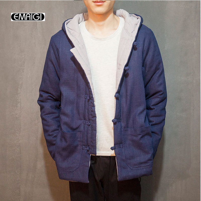 ФОТО China Style Cotton Linen Winter Mens Hooded Coat Retro Casual Thicken Cotton Padded Jacket Male Parkas Outwear