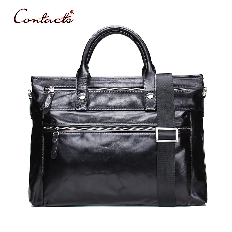 CONTACT'S Men Genuine Leather Handbag Tote Male Bag Crossbody Messenger Bags Briefcase Shoulder Sac Vintage 2017 Travel Brand joyir genuine leather men briefcase business male bags laptop tote handbag vintage crossbody bag famous brand shoulder bag