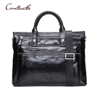 CONTACT S Men Genuine Leather Handbag Crossbody Bags Vintage Over Shoulder Tote Laptop Zipper High Quality