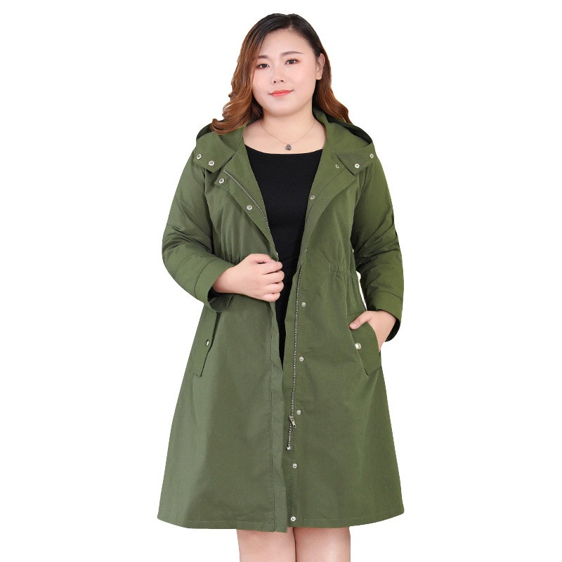 Plus size 4XL-10XL   Trench   Coat Women 2019 Spring Autumn Hooded Tooling Windbreaker Female Basic Coat ArmyGreen   Trench   Coats N387