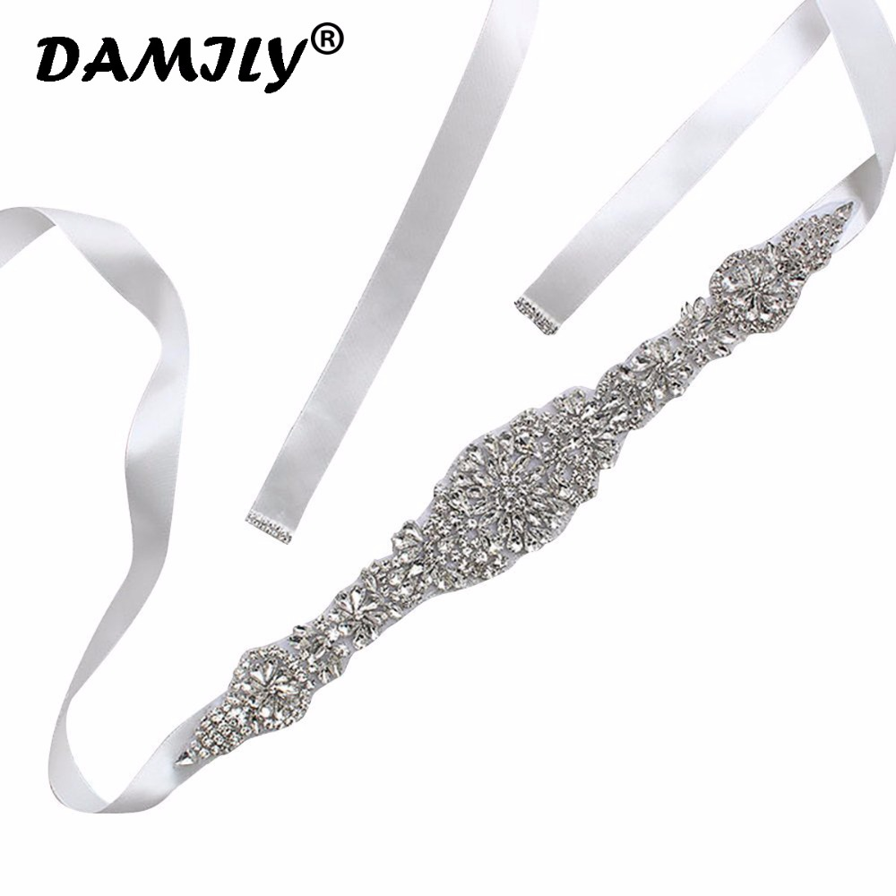 Women's Crystal Wedding   Belts   Luxury Rhinestone Wedding Dress   Belt   Bridal Wedding Accessories Satin Ribbon Sash   Belt   Waistband