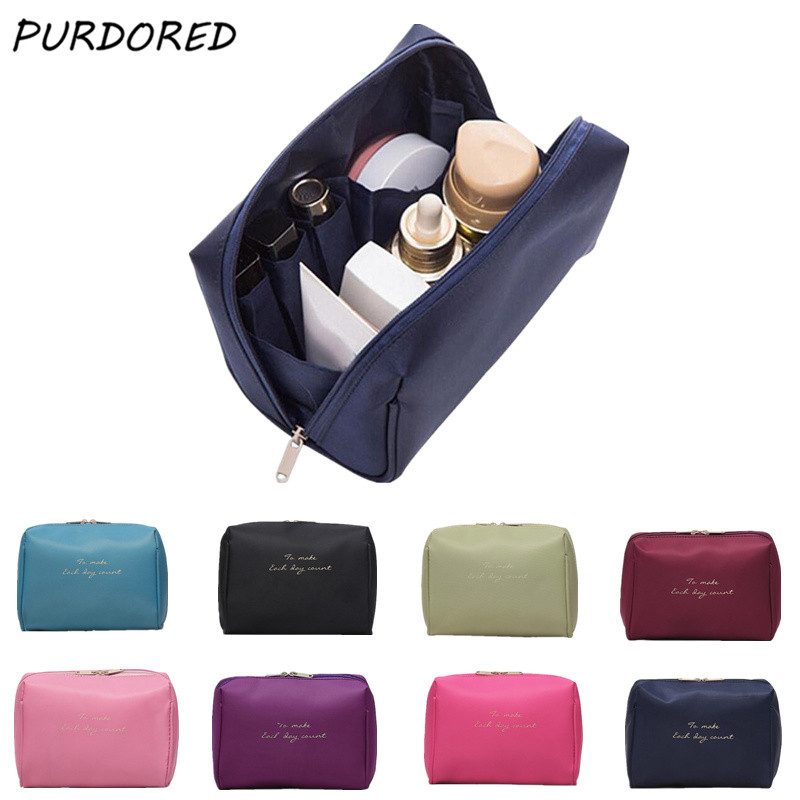 PURDORED 1 Pc Women Solid Make Up Travel Cosmetic Bag Beauty Organizer Beautician Functional Toiletry Bag Neceser