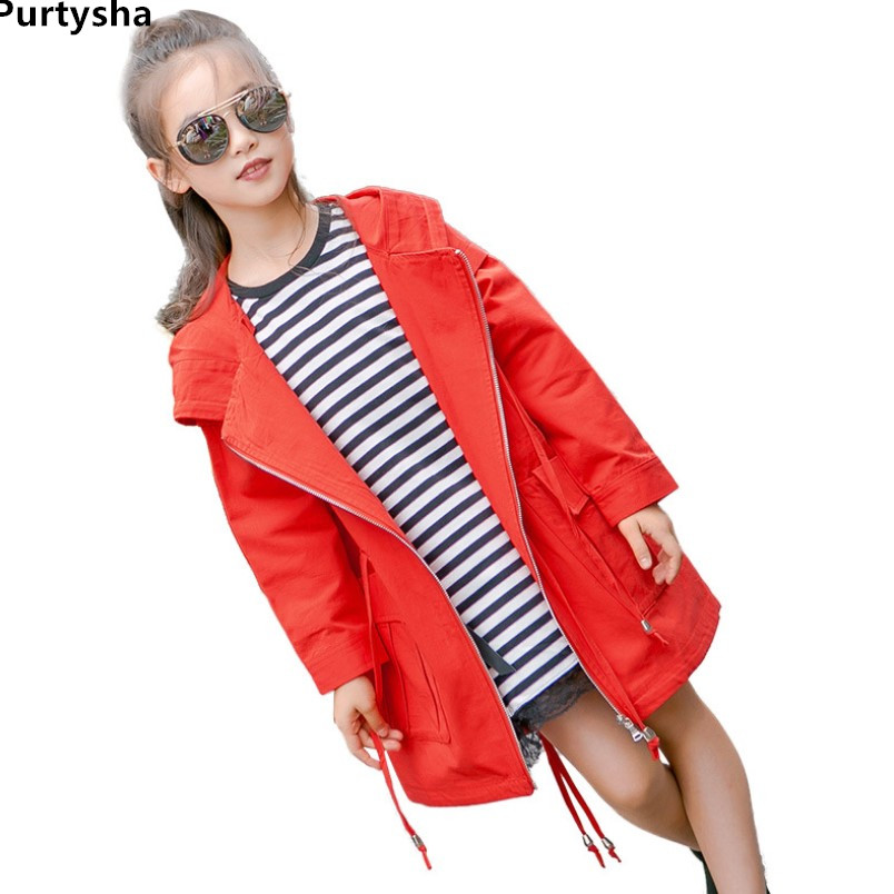 Girls Trench Coat Spring 2018 Korean style Long Sleeve Windbreaker Jacket For Girls Red Long Hoodies Kids Clothing 10 Years Old купить дешево онлайн
