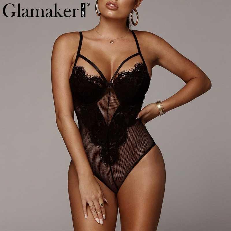 Glamaker кружево Прозрачная сетка черный женский боди-костюм Открытое сексуальное боди летнее элегантное боди цельный комбинезон