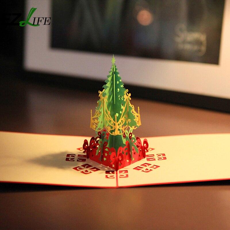 3D Pop Up Weihnachtskarten weihnachtsbaum geschenk EZLIFE Urlaub ...