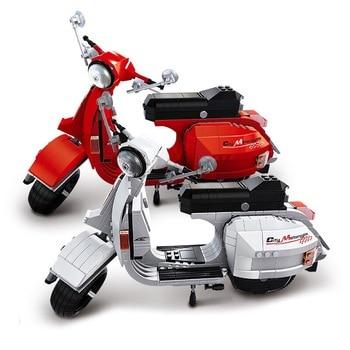 MOC Technic Motorcycle Moto Building Blocks Sets Bricks Model Kids education Toys For Children Gifts  Vespa Moto