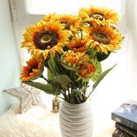 Подсолнечника Искусственный Поддельные Шелковый цветок дома Garden Party Свадебные украшения Гостиная офисный стол Декоративные цветы 3 главы
