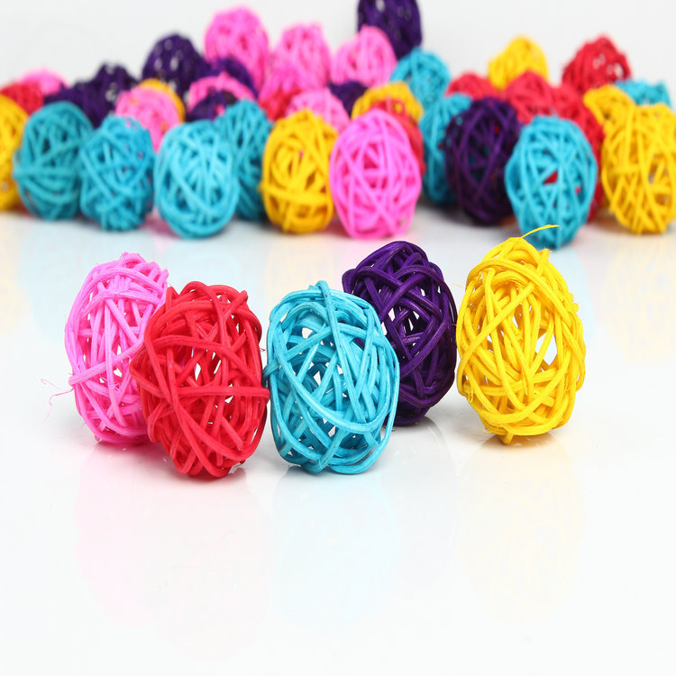 Wedding Decorative Rattan Ball 50pcs/lot 3cm Mix color Christmas Decor Home Ornament / diameter Home Decoration