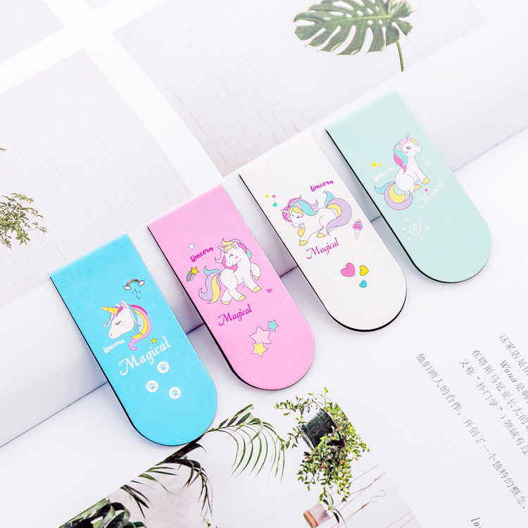 4pcs/lot Cute Kawaii Cartoon Animal Unicorn Magnetic Bookmarks School Supplies Paper Clip Kawaii Stationery For Kids Gift