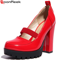 2015 New Arrive Soft Leather Women Pumps Ankle Strap Dress Shoes Thick High Heels With Buckle