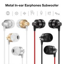 цена на Metal In-ear Earphones Subwoofer with Microphone Wire Control Universal Headset for Mobile Phone Computer
