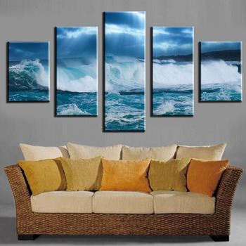 5 Pieces Mosaic beach sea modern home decoration painting on the canvas print news photo wall art фото
