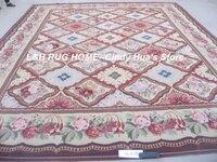 Free shipping 12'x15' Aubusson design woolen carpe, aubusson design carpet with vivid colors