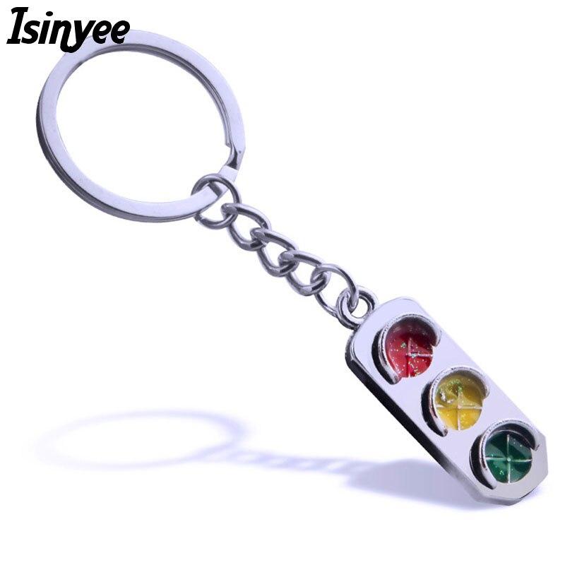 ISINYEE Fashion 3d Traffic Light Key Chains For Men Man Women Bags Silver Keyrings Keychain Boyfriend Gifts Jewelry