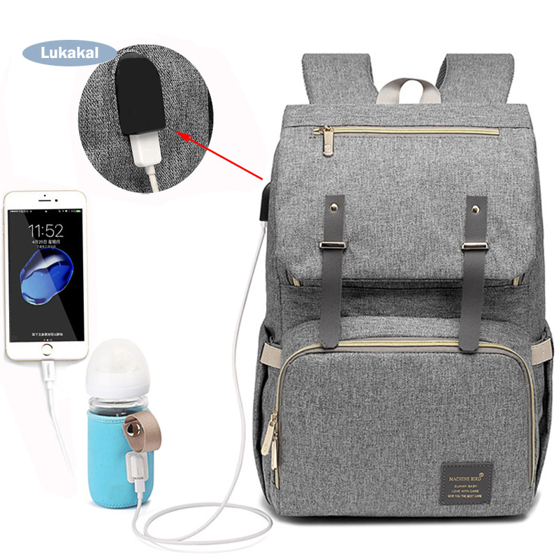 New USB Interface Diaper Bag Backpack Large Capacity WaterProof Baby Nappy Bag Rechargeable Maternity Mummy Bag For Baby Care