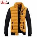 2017 New Winter Jacket Patchwork Men's Warm Cotton  Zipper Coat Slim Fit Fashion Outerwear Stand Collar Jackets 4XL YN10022