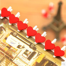 10 pcs/pack Red heart mini Wooden Clip Photo Craft DIY Clips with Hemp Rope  Clothespin Decoration Pegs