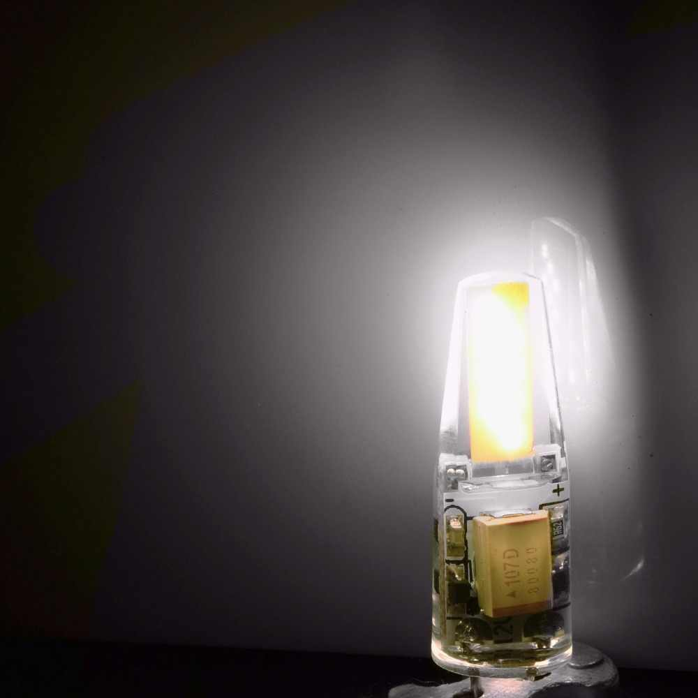NEW Arrival 12V AC/DC COB G4 żarówka LED 3W 6W COB LED G4 lampa światła dla kryształowy żyrandol G4 LED światła lampy ściemniania 6 sztuk/partia