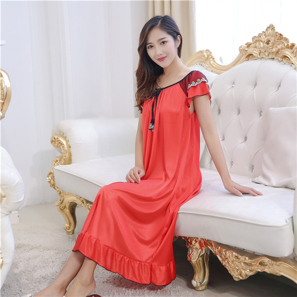 Sexy nightwear longo vestido de noite de luxo feminino casual vestido de noite das senhoras casa de vestir quente das mulheres vestidos de noite sleepwear novo quente