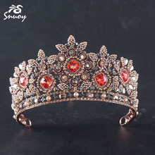 Snuoy Luxury Vintage Red Rhinestone Tiara Pearl Flower Crown For Women Bridal Wedding Headwear Jewelry Accessroies