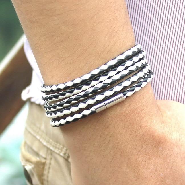 XQNI, брендовый, черный, Ретро стиль, обёрточная бумага, Длинный кожаный браслет, мужские браслеты, модные, скрученные, звенья цепи, мужской браслет с 5 кругами - Окраска металла: SLPG45